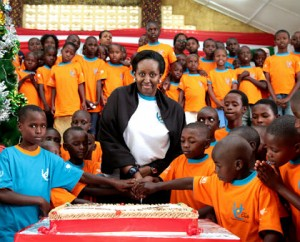 Jeannette Kagame celebrating Christmas with orphans.