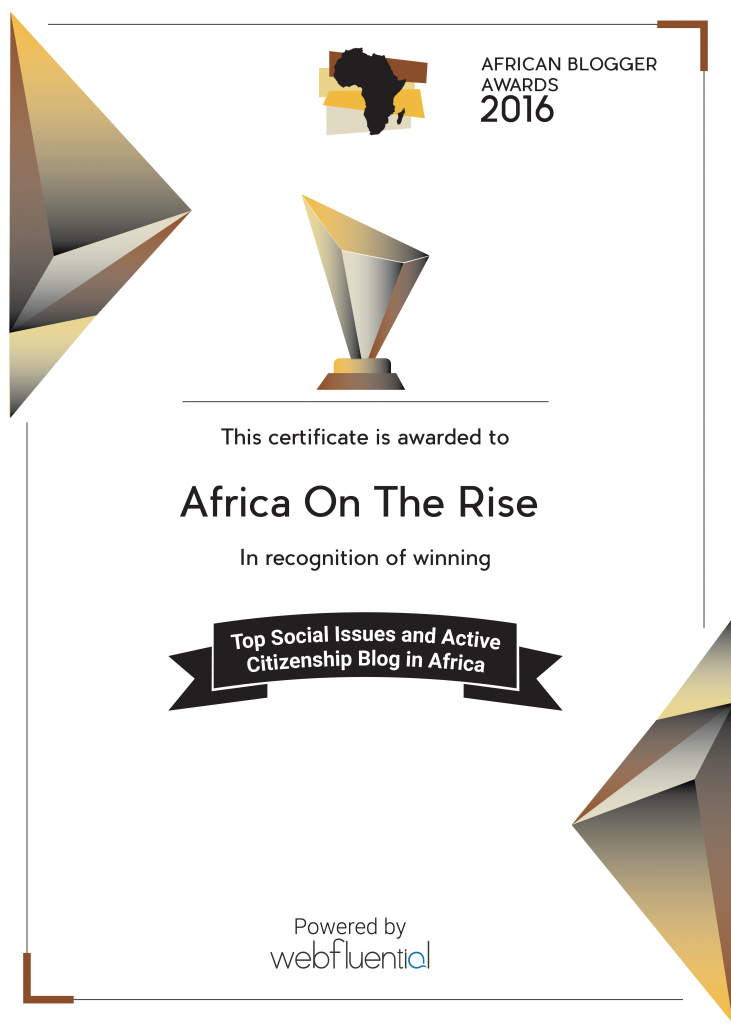 Africa-OnTheRise Wins African Blogger Awards for Top Social Issues and Active Citizenship Blog