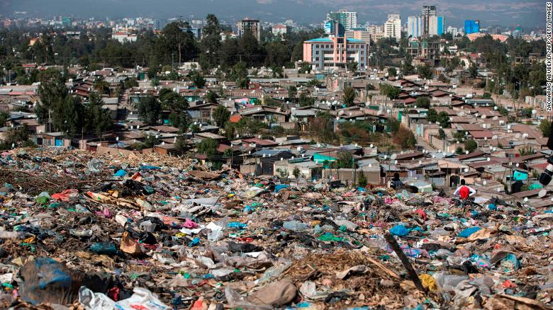 A view of Addis Ababa from Koshe -- the main landfill on the outskirts of the city