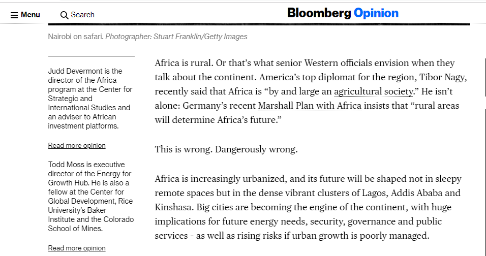 Bloomberg Opinion - Rural Africa